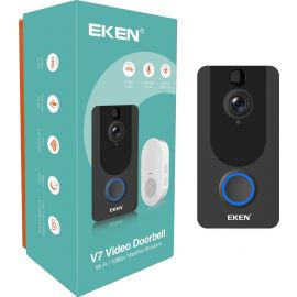 Eken Ring V7 Video Deurbel met Batterijen en Witte Gong