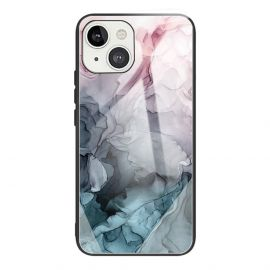 iPhone 13 Hoesje Roze / Blauw Marmer - Cacious (Marble Serie)