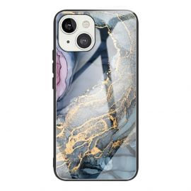 iPhone 13 Hoesje Blauw / Goud Marmer - Cacious (Marble Serie)