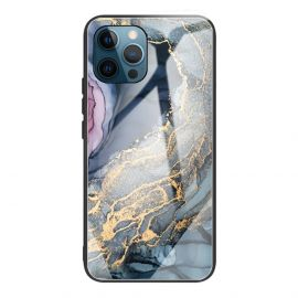 iPhone 13 Pro Hoesje Blauw / Goud Marmer - Cacious (Marble Serie)
