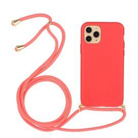 iPhone 13 Mini Hoesje met Koord - Roze Plasticvrij - Cacious (Eco strap serie)