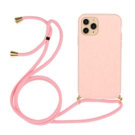 iPhone 13 Pro Max Hoesje met Koord - Roze Plasticvrij - Cacious (Eco strap serie)