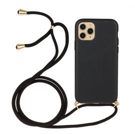 iPhone 13 Mini Hoesje met Koord - Zwart Plasticvrij - Cacious (Eco strap serie)