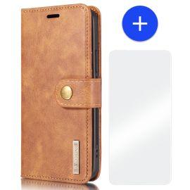 iPhone 13 Leren Portemonnee Hoesje - Bruine 2-in-1 Cover - DG.Ming