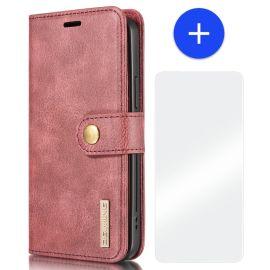 iPhone 13 Leren Portemonnee Hoesje - Rode 2-in-1 Cover - DG.Ming
