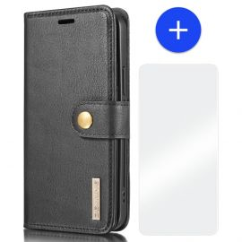 iPhone 13 Leren Portemonnee Hoesje - Zwarte 2-in-1 Cover - DG.Ming