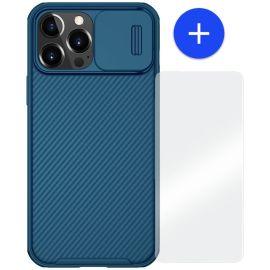 iPhone 13 Pro Max Hoesje Blauw met Camera bescherming - Nillkin (CamShield Serie)