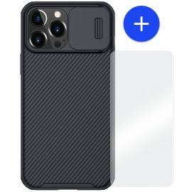 iPhone 13 Pro Max Hoesje Zwart met Camera bescherming - Nillkin (CamShield Serie)