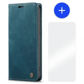 iPhone 13 Pro Slank Bookcase Hoesje Blauw Kunstleer - Caseme (013 Serie)