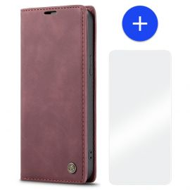 iPhone 13 Mini Slank Bookcase Hoesje Rood Kunstleer - Caseme (013 Serie)