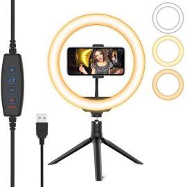 Cacious 8 inch Ring Licht met Statief - Ring Lamp met Desktop / Bureau Tripod - Geschikt voor Smartphones